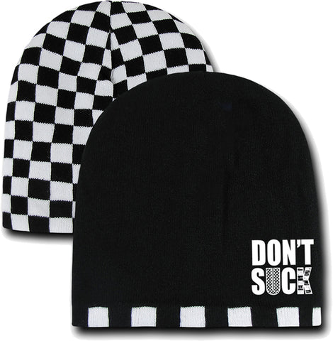 Don't Suck  CHECKERBOARD Beanie, Black