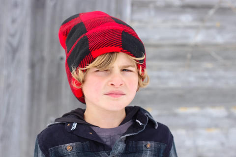 *GRG-Beanie, Red Plaid (Medium/Large)