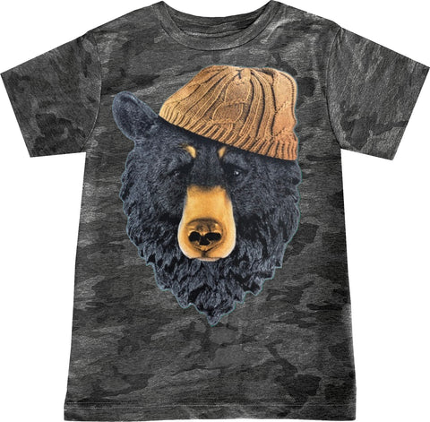 Bear In Beanie Tee, Smoke Camo-( Infant, Toddler, Youth, Adult)