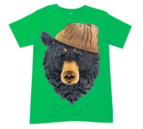 Bear In Beanie Tee, Green- (Infant, Toddler, Youth, Adult)