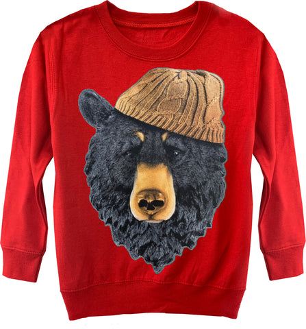 Bear IN Beanie Sweater, Red-(Toddler & Youth)