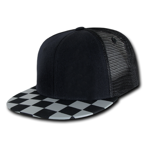TWEEN/ADULT Snapback Hat-Black W/Blk&Grey Check Brim
