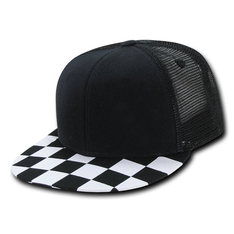 Snapback Hat-Black W/BW Check Brim-ADULT