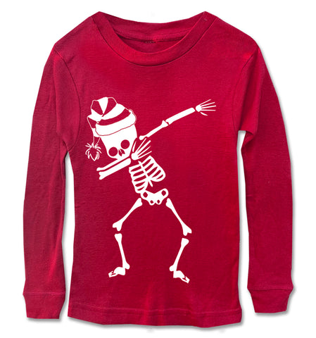 Skeleton Dabbing w/Santa hat Long Sleeve