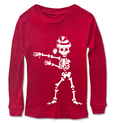 Skeleton Flossing w/Santa hat Long Sleeve