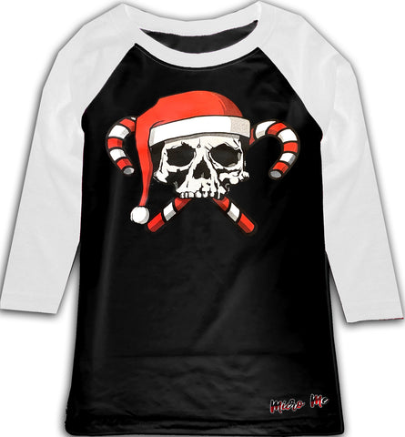 GRG-Candy Cane Skull Raglan, B/W (Toddler, Youth)