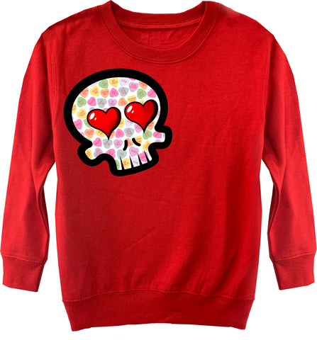 Convo Hearts COLLAB- Skull Fleece Sweater, Red (Toddler, Youth)