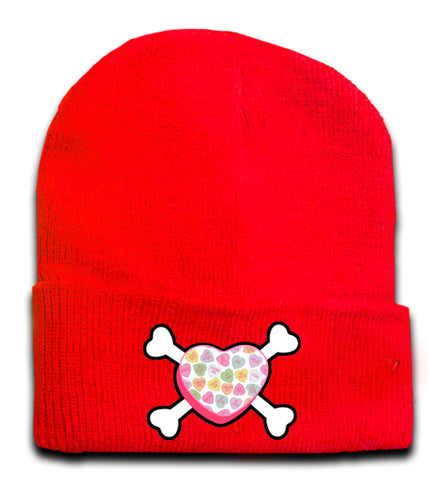 Convo Hearts COLLAB- Bones Beanie,Red (Medium)