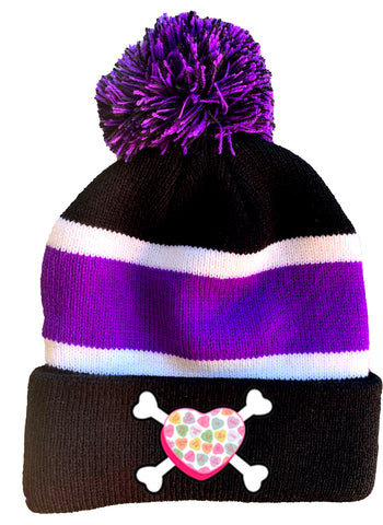 Convo Hearts COLLAB- Bones Beanie, Purple Stripe(Medium-Large)