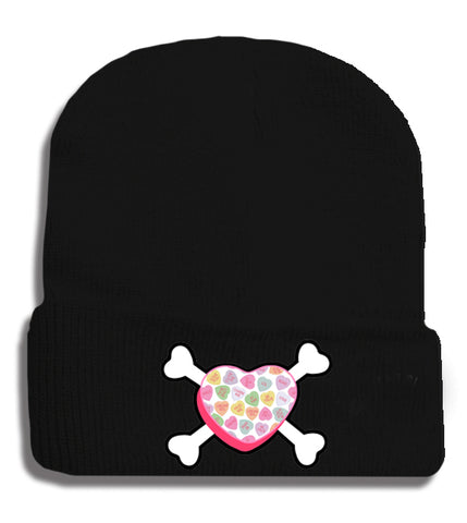 Convo Hearts COLLAB- Bones Beanie, Black (Medium)