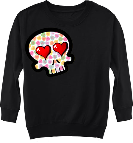 Convo Hearts COLLAB- Skull Fleece Sweater, Black (Toddler, Youth)