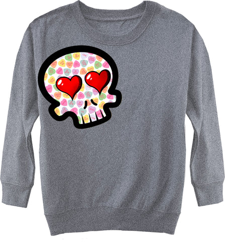 Convo Hearts COLLAB- Skull Fleece Sweater, Heather (Toddler, Youth)