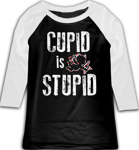 Cupid Is Stupid  Raglan, B/W (Toddler, Youth)