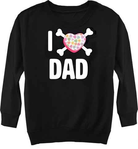 Convo Hearts COLLAB-Love Dad Fleece Sweater, Black (Toddler, Youth)