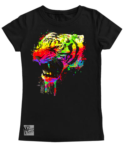 NS-Neon Tiger GIRLS Fitted Tee, Black (Toddler, Youth, Adult)