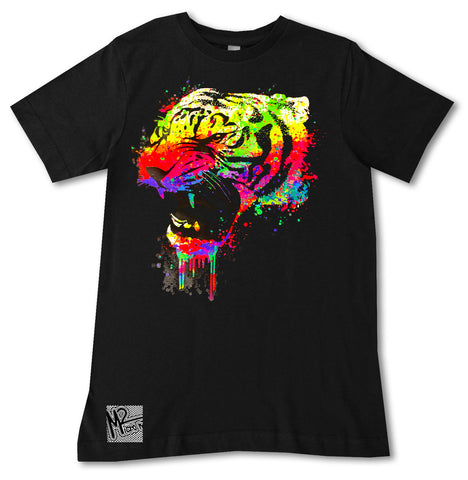 NS-Neon Tiger Tee, Black (Infant, Toddler, Youth, Adult)