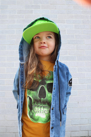 Glow Skull Skeleton Tee, Mustard- (Youth)