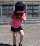 TWEEN/ADULT Snapback Hat-Black W/Blk&Hot Pink Check Brim