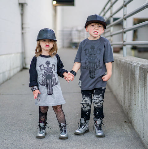 *Biker Skeleton, Grey/Blk Raglan (Youth,)