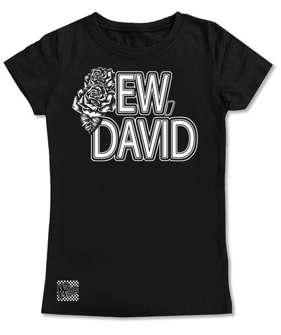 ED-Ew, David GIRLS Fitted Tee, Black (Toddler, Youth, Adult)