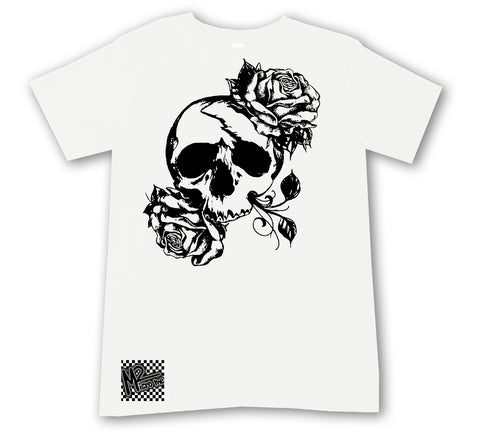 ED-Skull Rose Tee, White (Infant, Toddler, Youth, Adult)