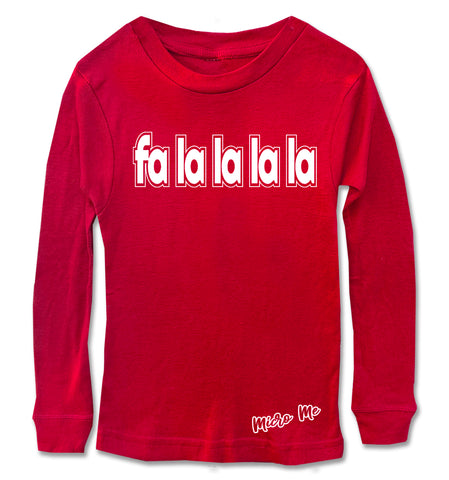CHR-'Fa La La La Long Sleeve Shirt, Red (Infant, Toddler, Youth)