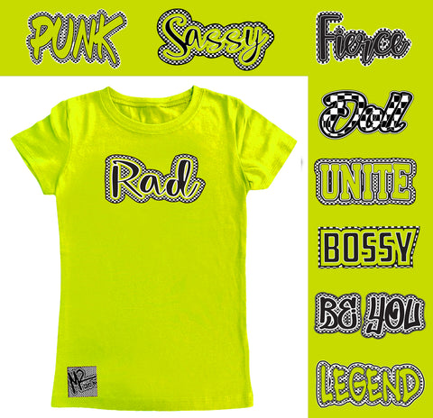*Check Yourself Fitted Tee, Neon Yellow (Toddler, Youth)