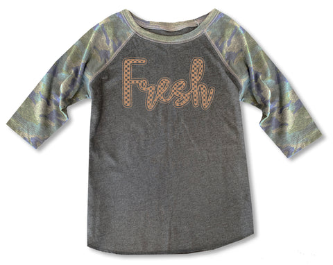 Fresh Camo Check Raglan **CUSTOM NAME***