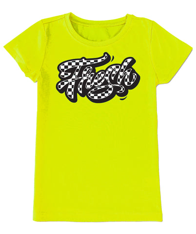 Fresh Checks Neon Yellow, Fitted Tee, (infant, toddler, youth, adult)