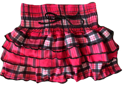 Hot Pink Plaid Ruffle Skirt