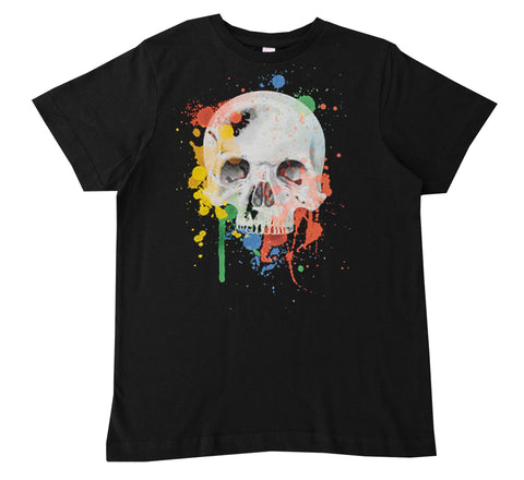 'Black Unisex Splatter Skull Tee- Infant, Toddler, Youth