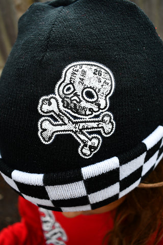 *URB-SKULL Reversible CHECKERBOARD Beanie