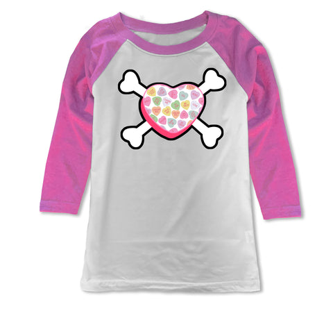 Convo Hearts COLLAB- Heart Bones Raglan, WP (Youth)
