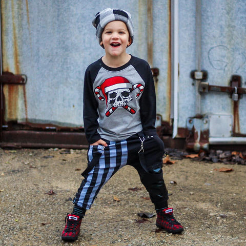 *GRG-Candy Cane Skull Raglan, G/B (Toddler, Youth,Adult)