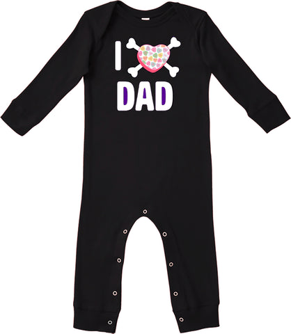 Convo Hearts COLLAB- Love Dad Romper, Black (Infant)