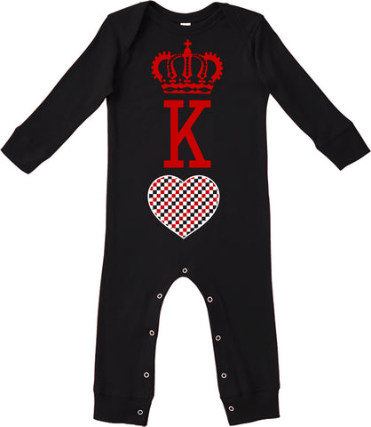A-Valentine COLLAB-King Of Hearts Romper, Black (Infant)