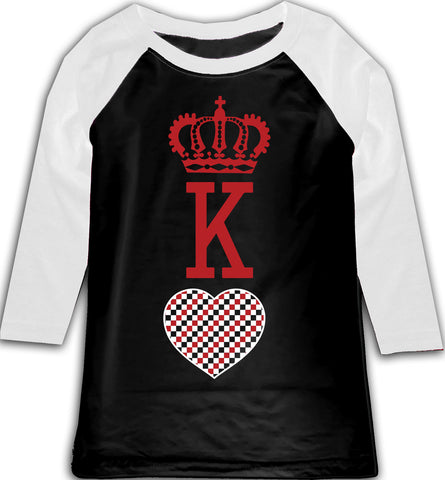 A-Valentine COLLAB-King of Hearts Raglan, BW (Toddler, Youth)