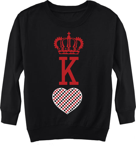 A-Valentine COLLAB-King Of Hearts Fleece Sweater, Black (Toddler, Youth)