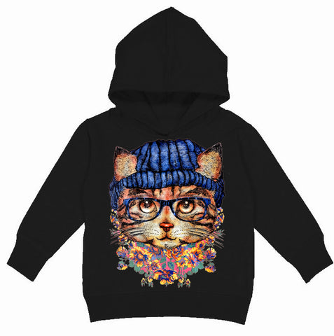 Kitty Beanie Hoodie, Black (Toddler, Youth, Adult)