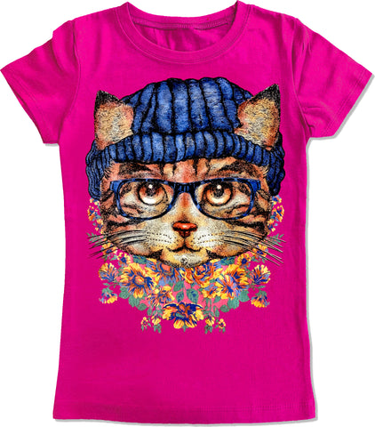 Kitty IN Beanie Fitted Tee,Hot Pink- (Toddler, Youth, Adult)