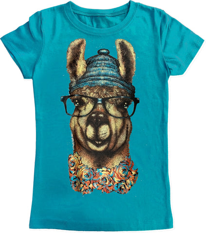 Llama IN Beanie Fitted Tee-Teal (Youth.)