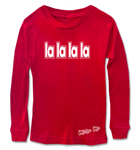 CHR-'La La La La Long Sleeve Shirt, Red (Infant, Toddler, Youth)