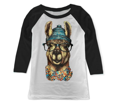 Llama In Beanie, Wht/Blk Raglan (Toddler, Youth, Adult)