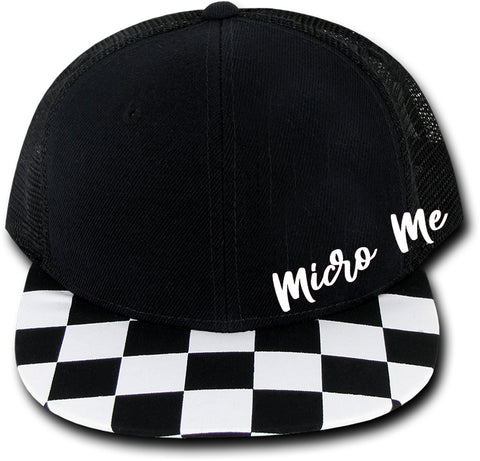 Logo Script Black Check Brim Snapback- 3 sizes