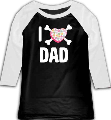 Convo Hearts COLLAB- I love Dad Raglan, BW (Toddler, Youth)