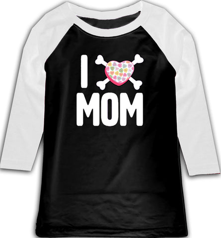Convo Hearts COLLAB- I love Mom Raglan, BW (Toddler, Youth)
