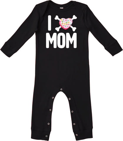 Convo Hearts COLLAB- Love Mom Romper, Black (Infant)