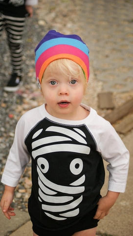 *Day 11-Mummy Face, Blk/Wht Raglan (Toddler, Youth)
