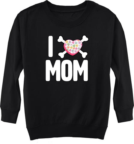 Convo Hearts COLLAB-Love Mom Fleece Sweater, Black (Toddler, Youth)