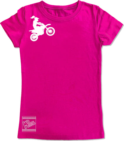 *Moto Girl Fitted Tee,Hot Pink- (6M-Youth XL)